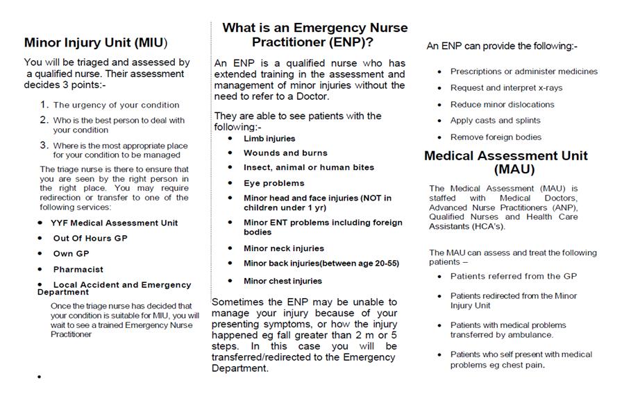 Ysbyty Ystrad Fawr Local Emergency Centre information leaflet