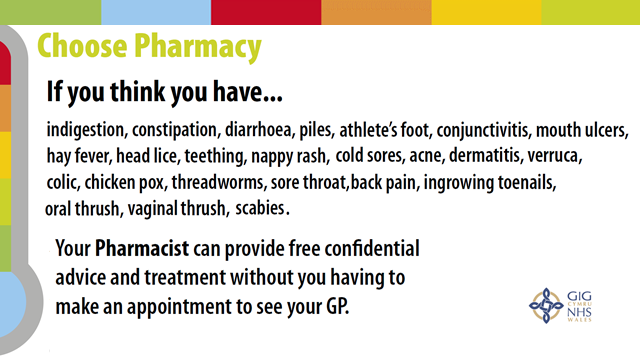 Your pharmacist can provide free confidential advice and treatment without you having to make an appointment to see your GP.